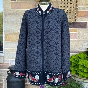 August Max Woman Zip Front Wool Cardigan Sweater